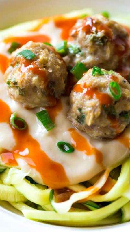 Buffalo Chicken Meatballs with Zucchini Noodles and Skinny Buffalo Cauliflower Alfredo