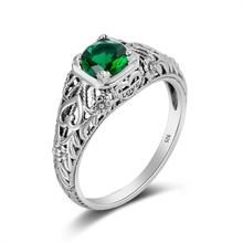 $19.36   Female Love Heart Ring Green Crystal Authentic Sterling Silver 925 Handmade Charms Jewelry May Birthstone Rings For Girlfriend(China (Mainland))