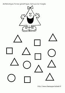 Discrimination visuelle et mathématiques maternelle petite moyenne  section: le triangle