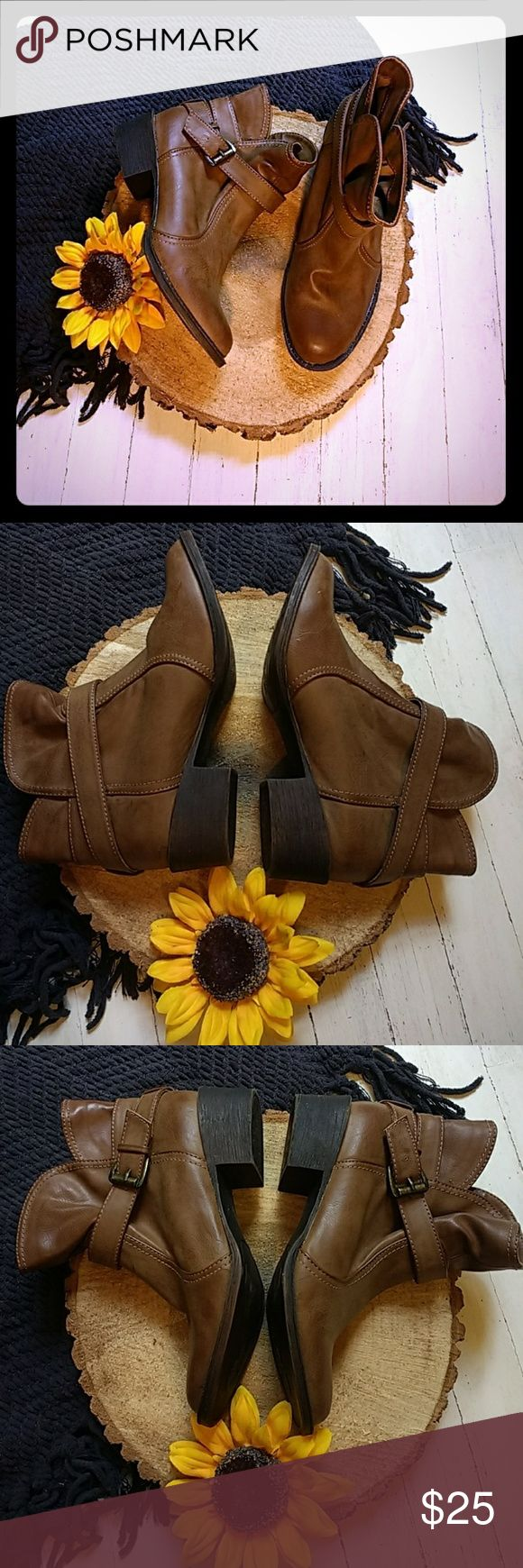 Rocket Dog brown booties Adorable but too small for me sadly. Worn inside once for a VERY short time. Has a tiny scuff at the back as pictured that I didn't notice was there when I bought them, otherwise perfect condition. Rocket Dog Shoes Ankle Boots & Booties
