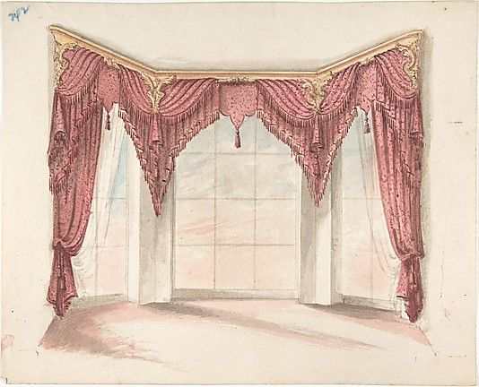 Design For Red Curtains With Red Fringes And A Gold