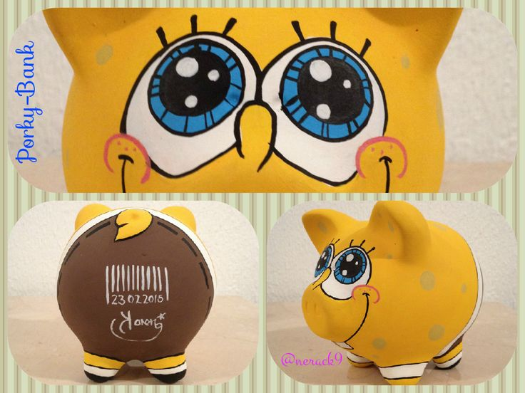 #Porky #BobEsponja - Alcancía pintada a mano. Hand painted Ceramic #PorkyBank Personalized By @nerack9  #Money #SpongeBob #SquarePants #HechoEnMexico