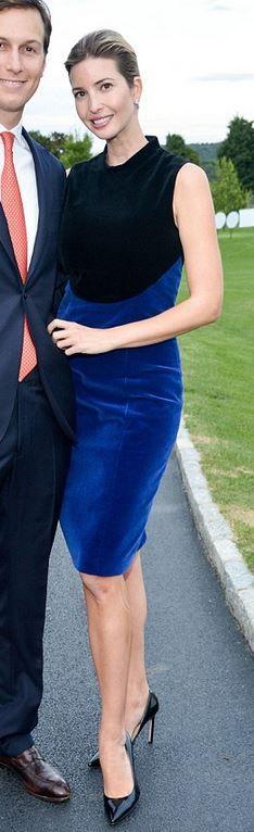 Who made Ivanka Trump's black pumps and blue velvet dress?