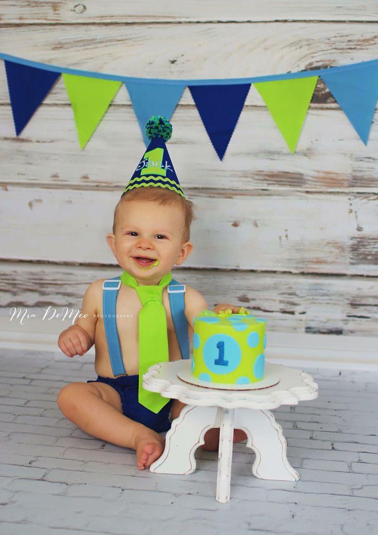 Greens and blues boys first birthday smash cake studio photos