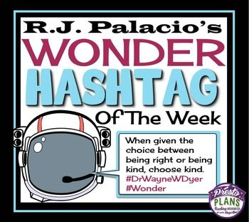Wonder by R J Palacio Hashtag Of The Week! By Presto Plans #Wonder #RJPalacio
