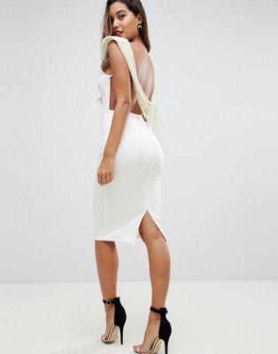316fe574f0ee Deep Plunge Pearl Back Midi Dress | Outfits | Pearl dress, Dresses ...