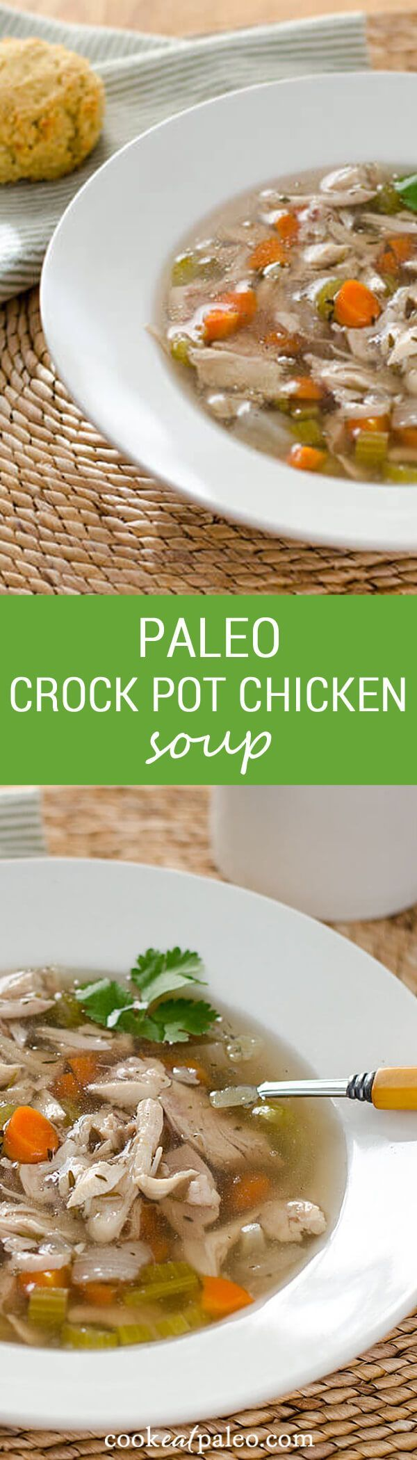 This paleo crock pot chicken soup is comfort food pure and simple. With just a few ingredients, this recipe is gluten-free, grain-free and dairy-free. ~ cookeatpaleo.com