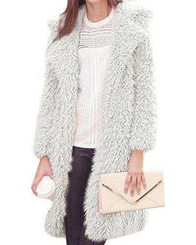 Tomwell Herbst Winter Damen Mädchen Elegant Einfarbig Lange Ärmel Flauschiges Zottelig Warm Strickjacke Lange Mantel Outwear Parka Weiß DE 36