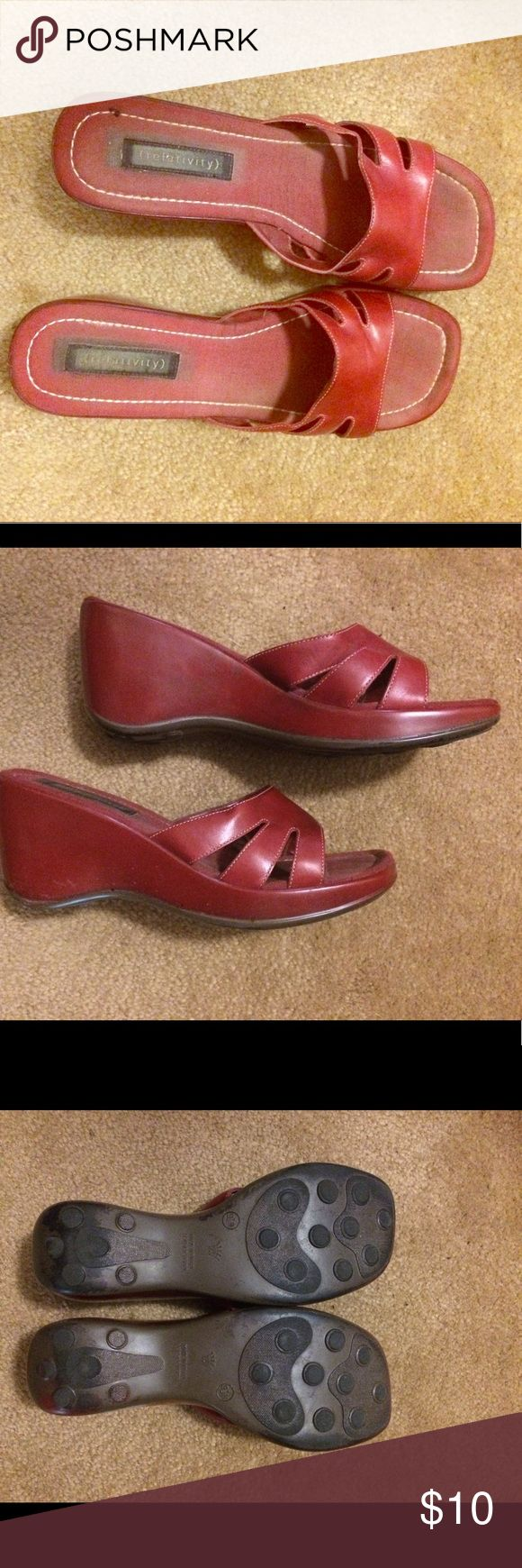 Relativity red wedges Red wedges fro Relativity. Very comfortable. Only worn a half dozen times. Relativity Shoes Wedges