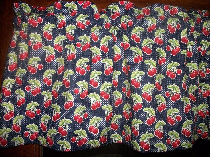 Red Cherries Fruit Blue Polka Dot waverly fabric curtain window topper ...