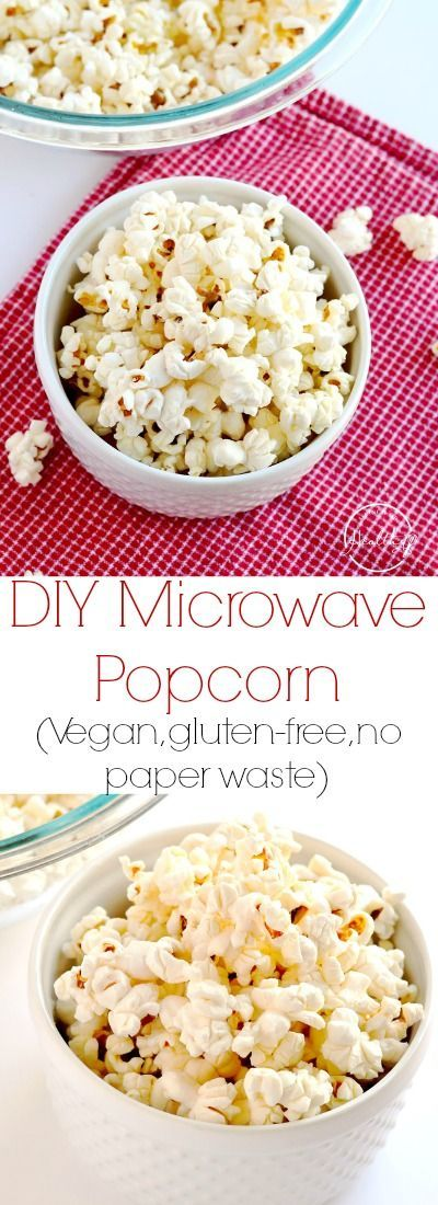 This DIY microwave popcorn is such a simple, healthy and delicious snack that everybody loves! All natural, vegan, gluten-free and no paper waste. | APinchOfHealthy.com