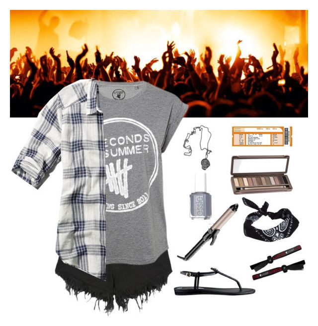 """""""Outfit request: A 5sos Concert"""" by thestylelookout ❤ liked on Polyvore featuring ASOS, Nana Judy, Abercrombie & Fitch, GUESS, Conair, Urban Decay and Essie"""