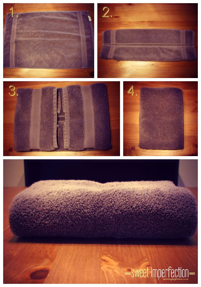 How to fold a hand towel. eat, craft, decorate, tidy! Great site for recipes, tips for the home and decorating ideas! www.sweetimperfection.com