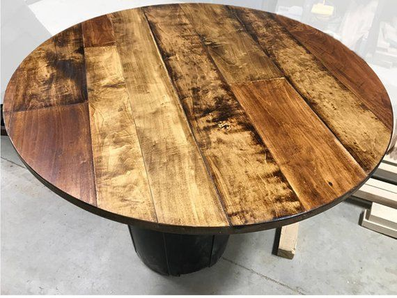 1 Round Table Top Maple Plank Table Top Rustic Wood Table Top Round Rustic Table Top Restaurant Table Top Sawmark Grooved Top Natural Wood Table Wood Table Top Plank Table