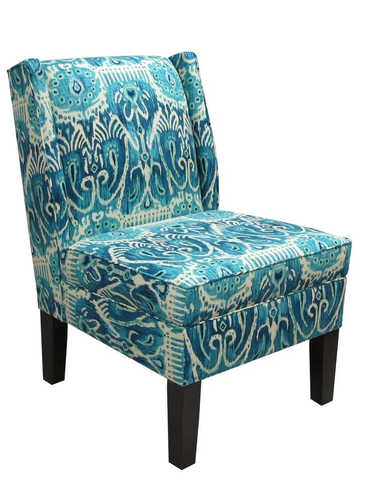 Furniture, : Marvelous Images Of Patterned Padded Peacock Blue Chair And  Black Square Tapered Chair Legs For Living Room Furniture Decoration