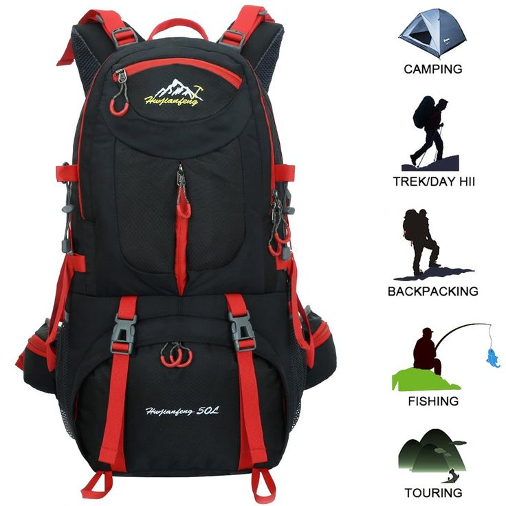 50L Hiking Backpack Outdoor Sports Daypack Multi-Functional Waterproof Rock Climbing Mountaineering Fishing Travel Cycling Camping Rucksack Unisex (Black). ▲ DURABLE: Backpack made of waterproof nylon fabric, lined with advanced polyester fiber, with strength and lasting performance. ▲ USER - FRIENDLY DESIGN: Ergonomic padded shoulder strap and back support for optimum ventilation and ease the burden. ▲ MULTI - FUNCTION BACKPACK: With 50 liters capacity, with a strong suspension system to...