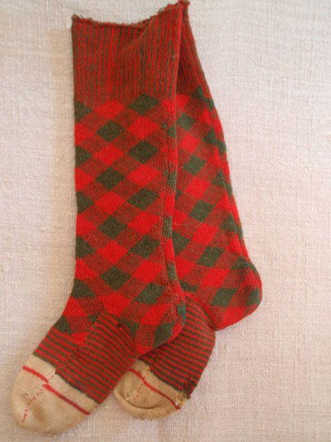 1850's  Hand Knit Child's Wool Socks