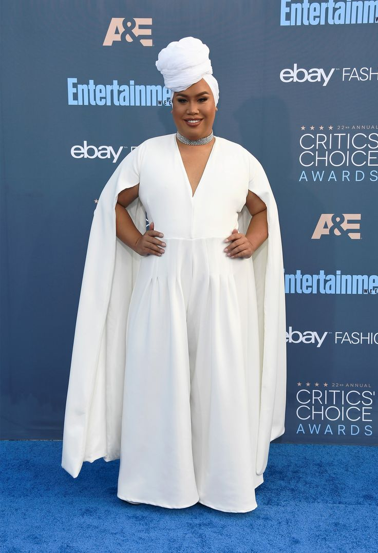 Internet personality Patrick Starrr looked gorgeous in a cape-like, white dress. (Photo by Frazer Harrison/Getty Images) via @AOL_Lifestyle Read more: http://www.aol.com/article/entertainment/2016/12/11/critics-choice-awards-2016-red-carpet-arrivals/21625460/?a_dgi=aolshare_pinterest#fullscreen
