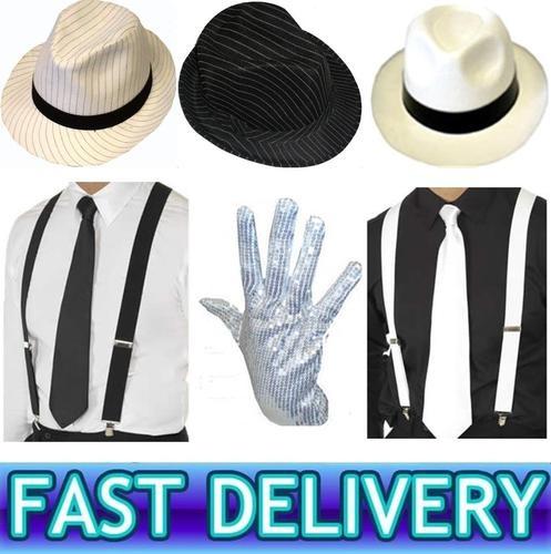 MICHAEL JACKSON FANCY DRESS HAT BRACES TIE GLOVE COSTUME | eBay