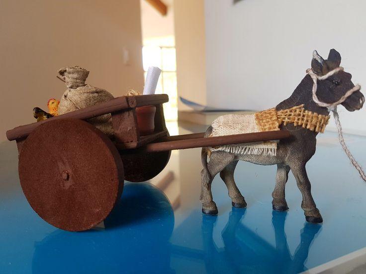 Carreta con burro belenismo