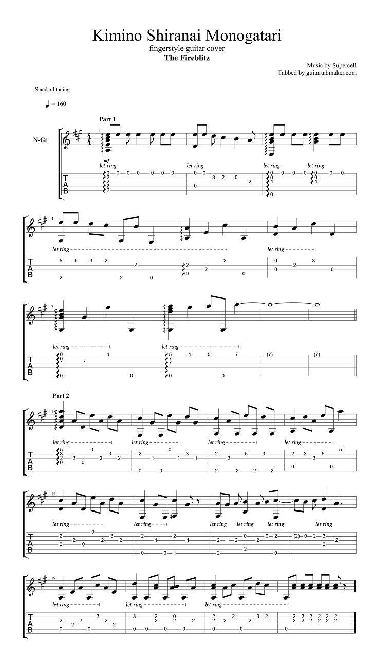 Supercell - Kimino Shiranai Monogatari acoustic fingerstyle guitar tab (free) - pdf guitar sheet music download - guitar pro tab