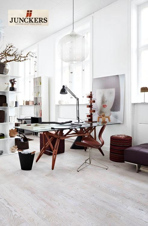 A beautiful studio with Junckers Hardwood European fine flooring - Pair this with ThermoFin in-floor radiant heating.