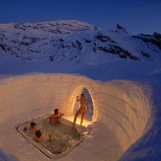"""Open-air Jacuzzi at the Iglu-Dorf Hotel in Switzerland! ⛄️ Is It Too Cold for You? •••••••••••••••••••••••••••••••••••••••••••••••••• Via…"""