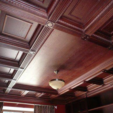 Кессонный потолок МДФ с люстрой - WOODCABINET