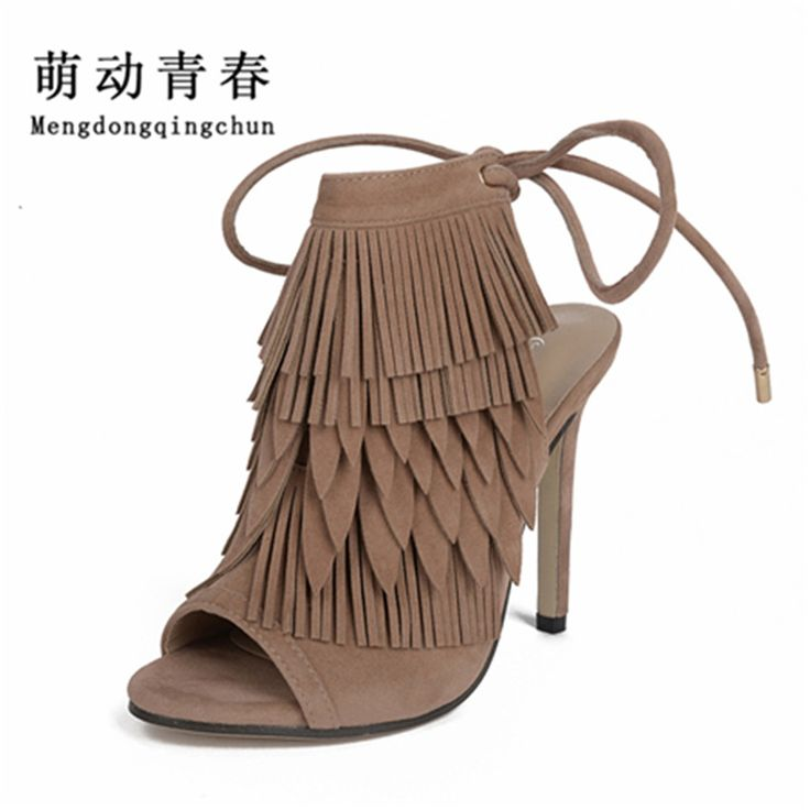 2017New Super Star Gladiator High Heels Sandals Women Fringe Lace-up  Ankle open toe Shoes Woman Open Toe Sandals #Affiliate