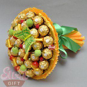 "Букет из конфет ""Осенний карнавал"", артикул 127-00-893, цена 1950 руб., sweetgift.ru"