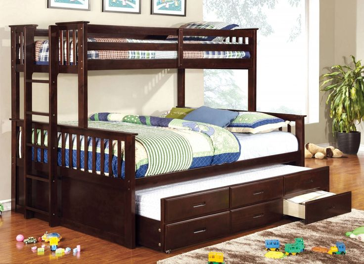 Furniture of America CM-BK458Q-EXP CM-BK458Q-CTR-EXP University Dark Walnut Twin over Queen Trundle Bunk Bed