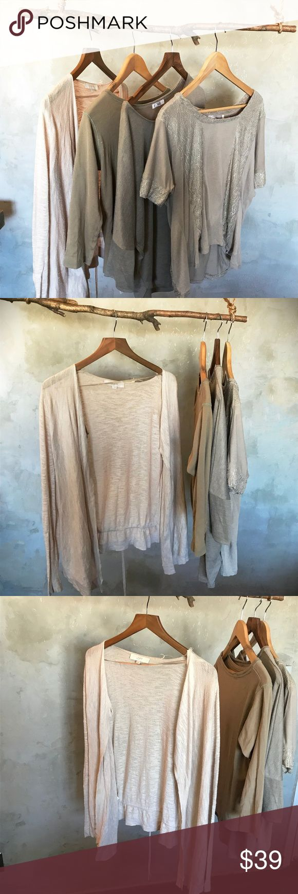 Bundle of Tees and cardigan casual earth tone 3 Tees and one cardigan, casual, neutral, earth tone tops. 1 LOFT lightweight cardigan size M cotton blend 1 Sfera solid cotton boatneck 3/4 sleeve tee size L 1 Forever 21 (Love 21) mid sleeve, loose top with sparkly panels size L rayon blend 1 Mango XL looser fit top with 3/4 sleeves and curled hem neckline fabric unknown  Slight piling. Good used condition. LOFT Tops Tees - Long Sleeve
