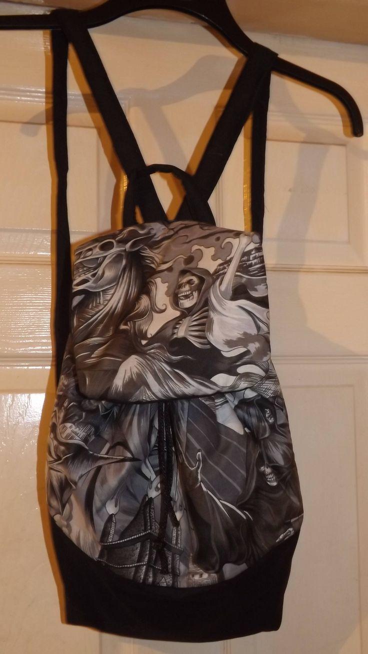 Excited to share the latest addition to my #etsy shop: handmade backpack rucksack bag gothic grim reaper skull design http://etsy.me/2yZNJ4h #bagsandpurses #backpack #black #christmas #grey #bag #rucksack #novelty #grimreaper