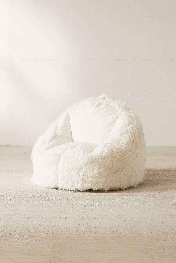 Slide View: 3: Faux Fur Electronics Storage Bean Bag Chair