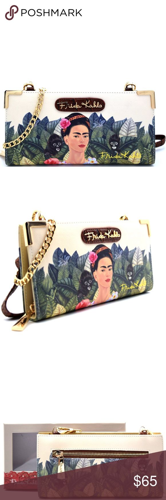 Black Frida Kahlo wallet with crossbody strap Please see pictures and if you have any more questions, let me know. Thank you 🌺 Frida Kahlo Bags Wallets