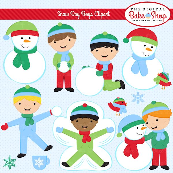 Snow Day Boys Clipart - These adorable boys are ready for some fun in the snow.  Perfect for educational use, scrapbooking, card making and more.