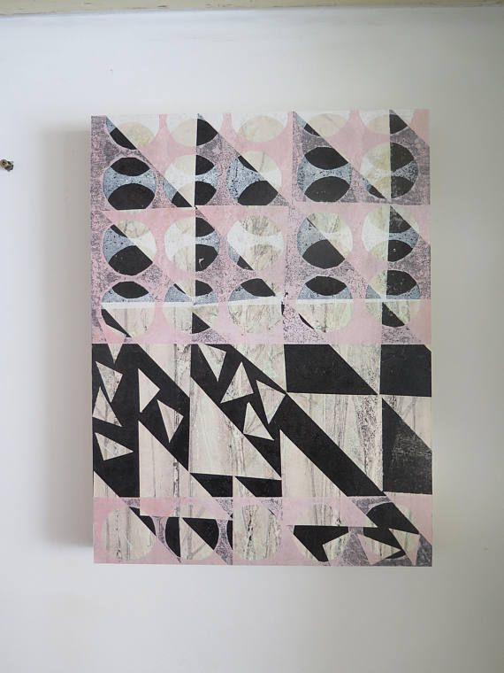 Original Geometric Abstract floral multi layered mono print on wooden panel by Stef Mitchell Influenced by vintage quilts & modernist design  This print starts off as most of my Field and Hedgerow prints as a monoprint lovingly printed directly from plants. I then build up layers