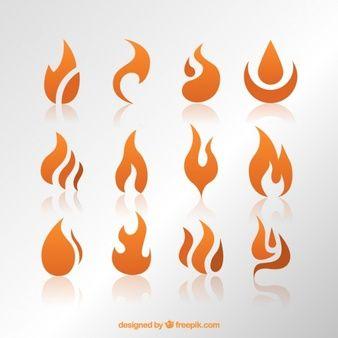 Llamas de fuego naranja abstractas
