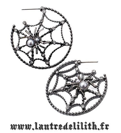 Boucle d'oreilles gothique Toile d'araignée noire