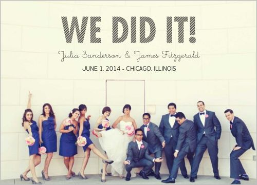 Stylishly Stated Wedding Announcement- Let the good times roll with the special news!   Shutterfly.com