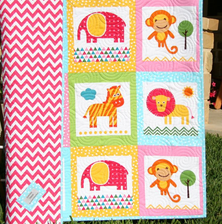 Girl Zoo Animal Quilt Baby Or Toddler Jungle Crib Bedding
