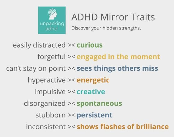The flip side of ADHD symptoms - Your hidden strengths (View only from Unpackingadhd.com)