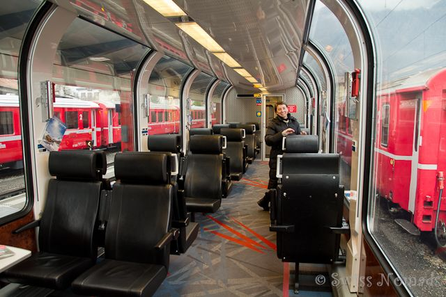 The 1st class observation coach of the Bernina Express