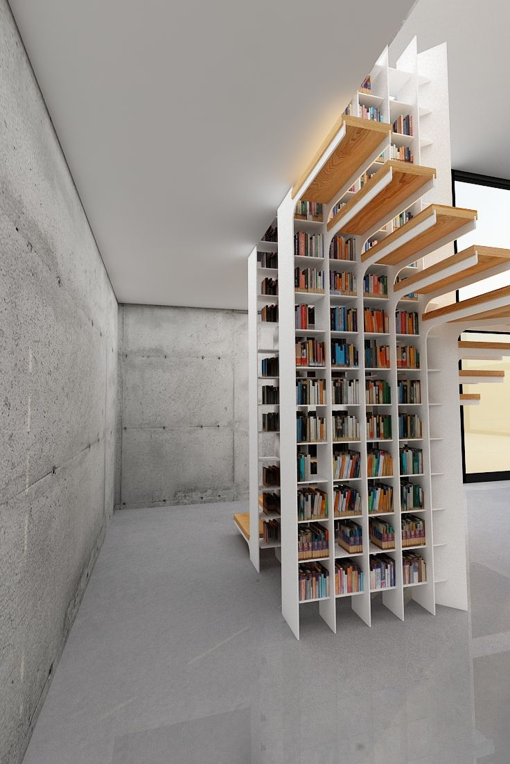 1000 ideas about staircase bookshelf on pinterest bookshelves spiral staircases and stairs - Staircases with integrated bookshelves ...