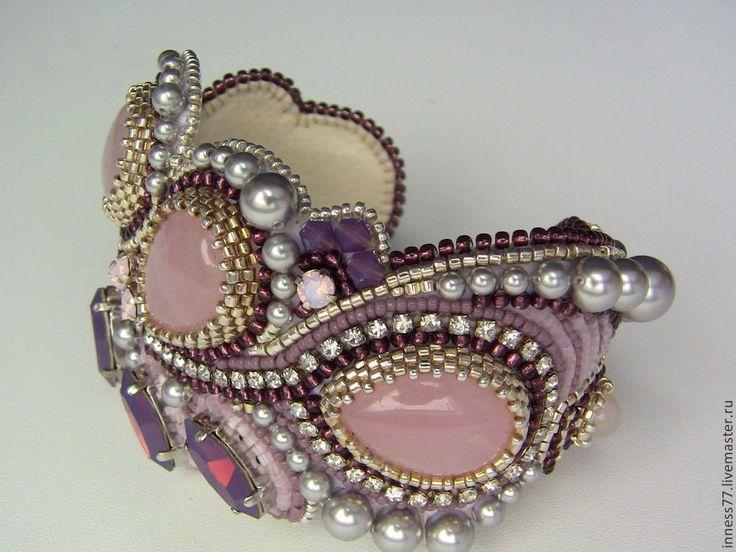 """Браслет с розовым кварцем """"Розовые сны"""" - бледно-розовый,браслет,браслет с камнями"""