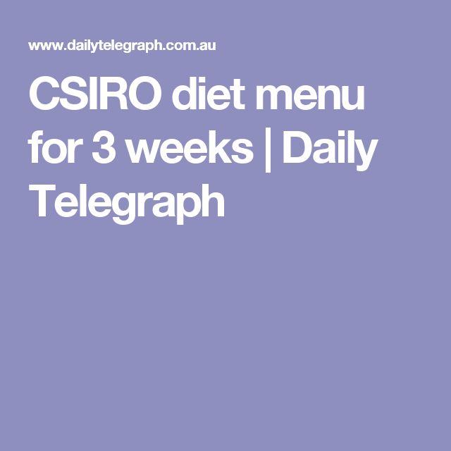 CSIRO diet menu for 3 weeks | Daily Telegraph | Csiro ...