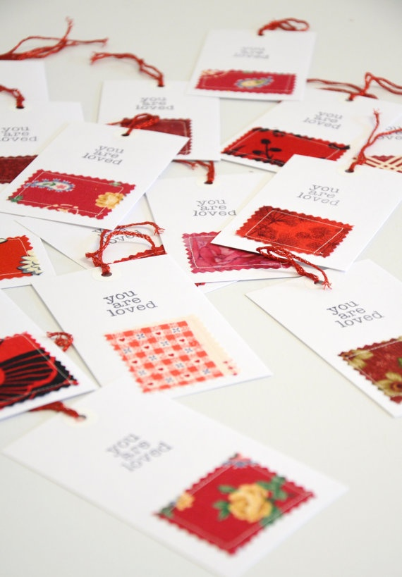 What a great DIY idea for gift tags!  Available already made via Etsy.
