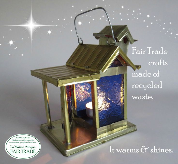 It warms and shines. Fair Trade Crafts of recycled metal cans and scrap glass. #fairtrade #jul