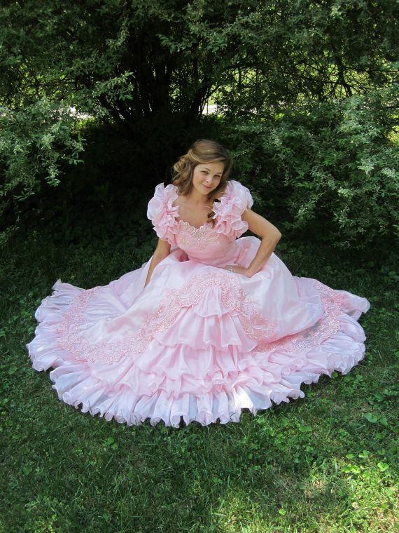 1980s Pink Ball Gown 80s Cupcake Frilly by ElizabethJeanVintage