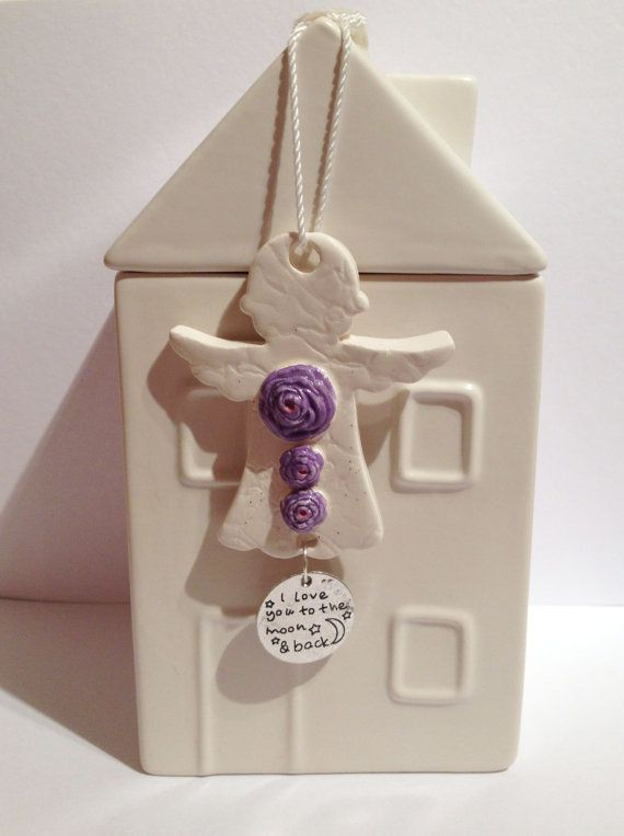 Handmade Ceramic Angel Purple flowers-To the by DelabudCreations
